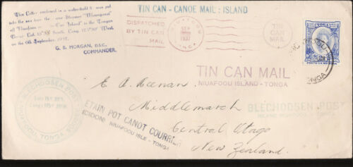 TONGA TIN CAN CANOE MAIL COVER MULTIPLE STAMPINGS VERY RARE zz