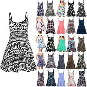 14756364b5ed53 Womens Swing Dress Cami Strappy Ladies Print Flared Vest Mini Top ...