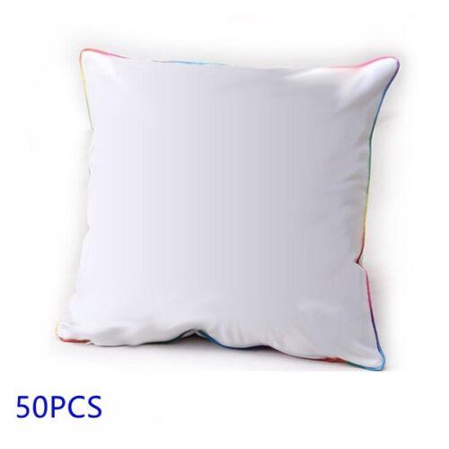 Plain White 3D Sublimation Blank Pillow Case Cushion With Edge Polyester 50PCS