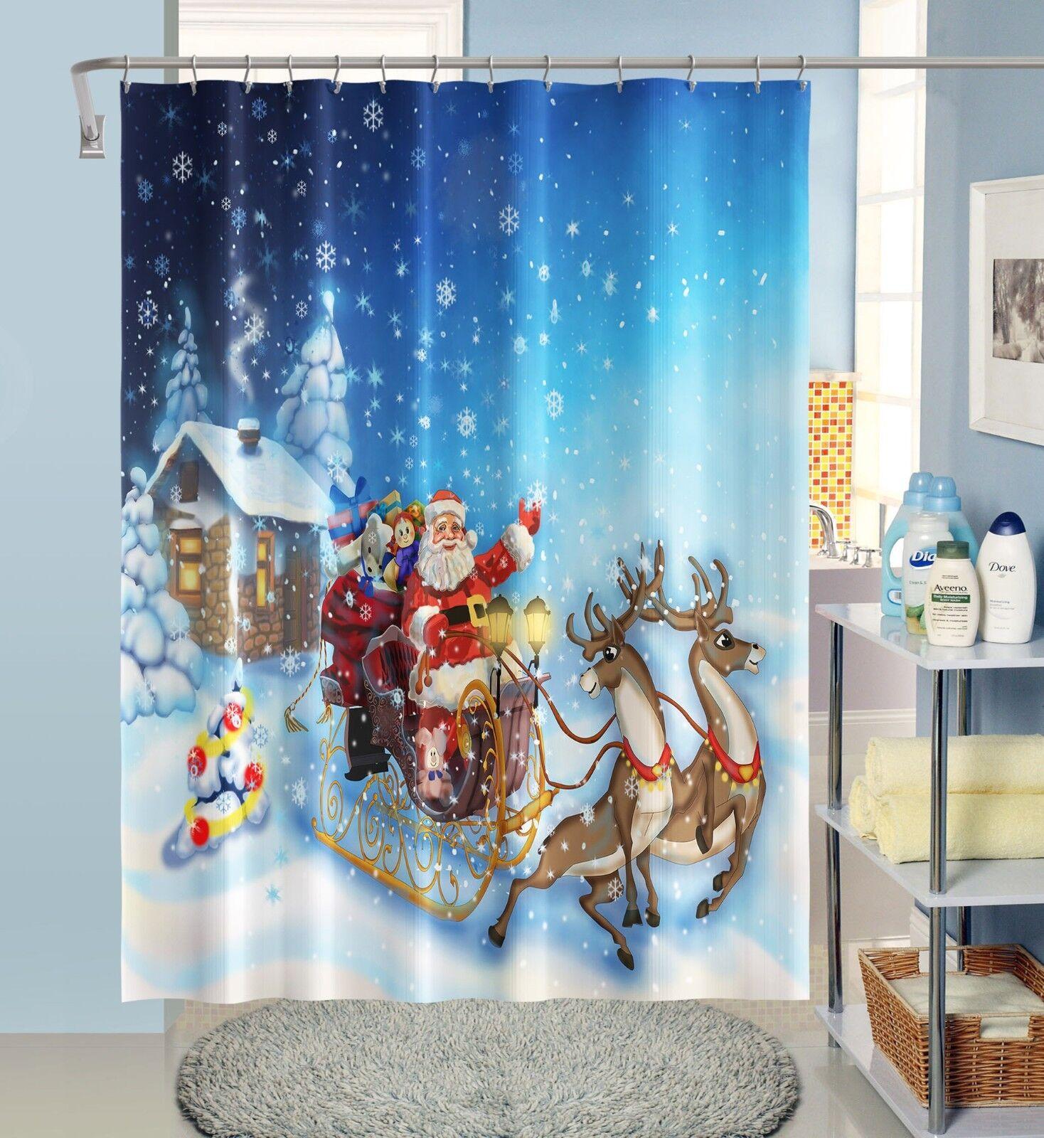 3D Weihnachten 24 Duschvorhang Wasserdicht Faser Bad Bad Bad Daheim Windows Toilette DE | Mangelware  f14c4c
