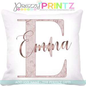 Image Is Loading Personalised Cushion Rose Gold Name Initial Marble Birthday