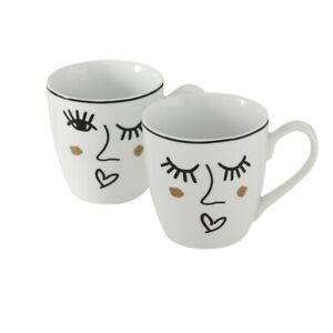 2-x-Jumbotasse-Glamy-Porzellan-480-ml-Becher-Gesicht-Face-Zwinkern-Kaffee