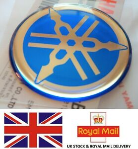 1 X Yamaha 100 Genuine Tuning Fork Logo Decal Emblem Blue Sticker 40mm Uk Stock Ebay