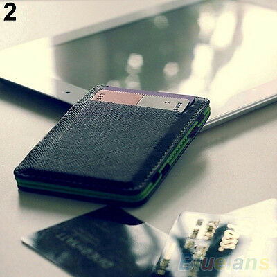 Mens Smashing Faux Leather Magic Credit Card Id Money Clip Slim Wallet Holder