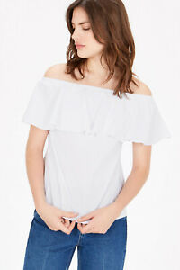 White Cotton Off Shoulder Bardot Ruffle