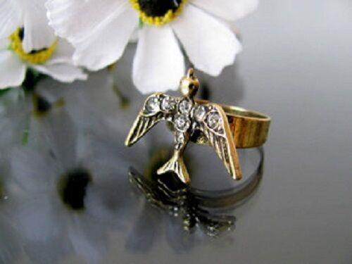 Ajustable Vintage Estilo Bronce Cristal Bird encanto Anillo
