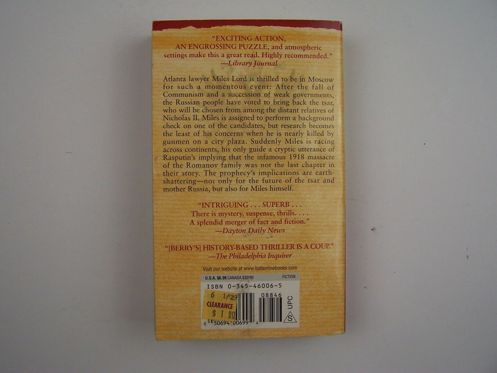 Steve Berry The Romanov Prophecy Russian History Thrill