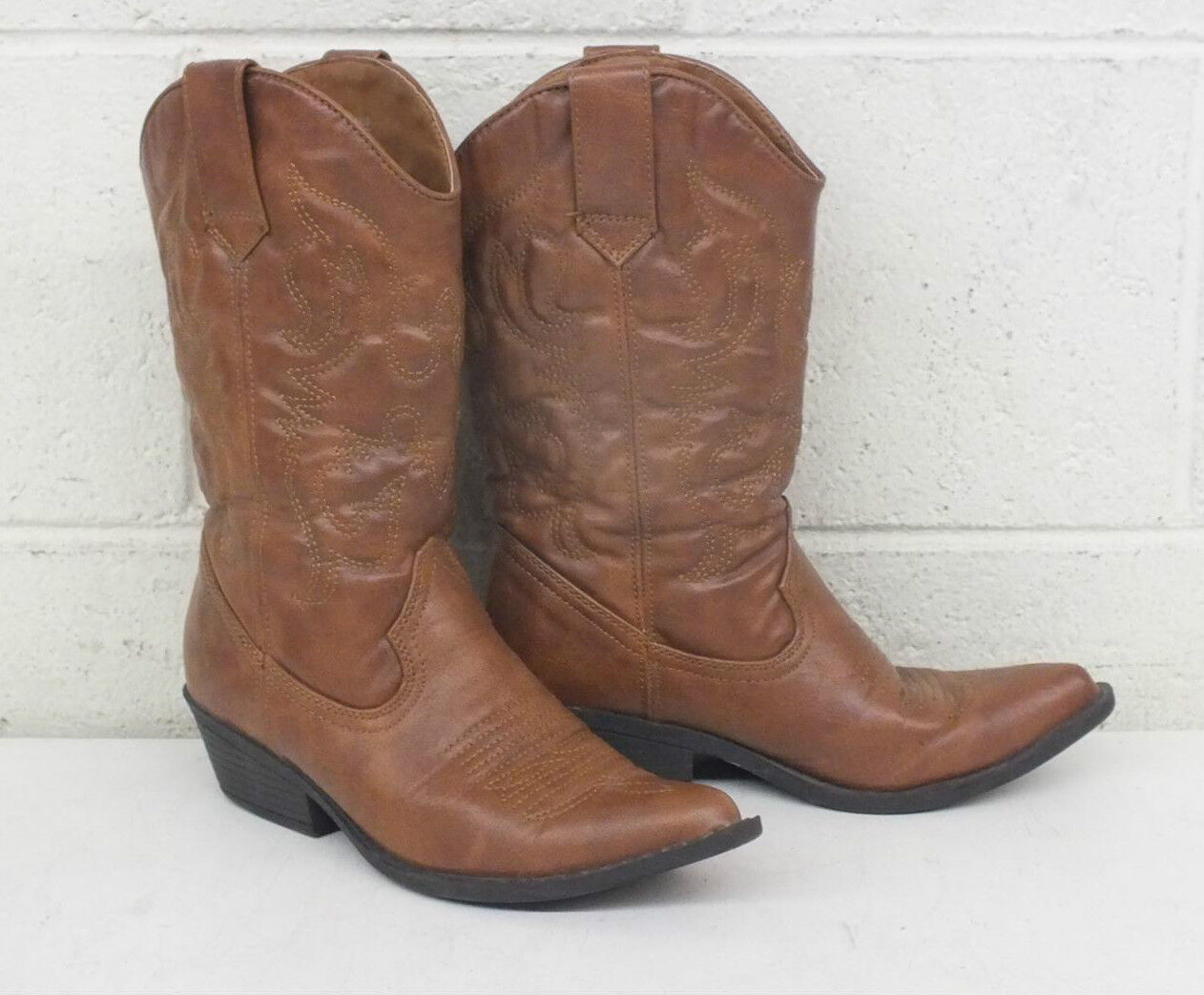 Steve Madden Sanguine Soft Brown Leather Rubber Soled Cowboy Boots US Women's 5