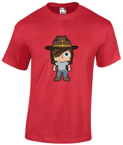 Carl Grimes Walking dead Cartoon Zombie Apocalypse film d/'horreur T-Shirt