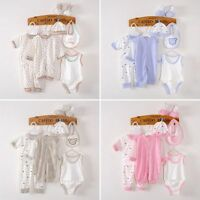 8pcs Newborn Infant Baby Girls Boys Cotton Romper Hat Outfits Clothes Sets 0-3M