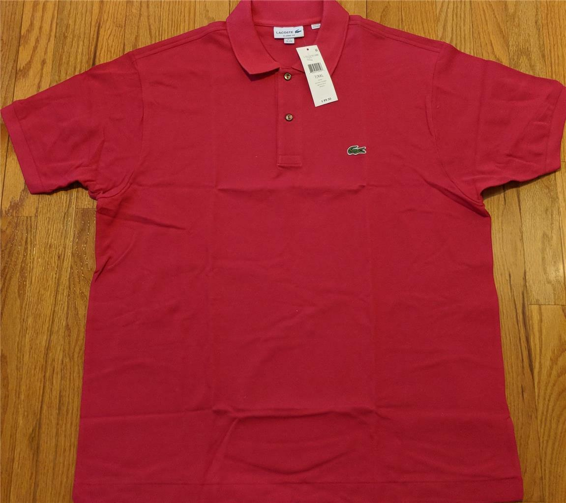 Mens Authentic Lacoste L.12.12 Classic Pique Polo Shirt Bright Pink 7 2XL