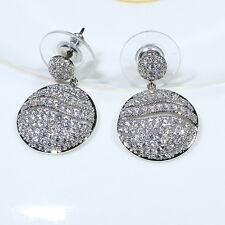 18K White Gold Filled Clear CZ Women Fashion Jewelry Lady Dangle Earrings E3733