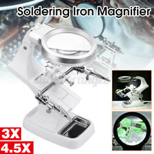 Helping Hand Soldering Lron With Magnifier Magnifying Glass Lens Led Light