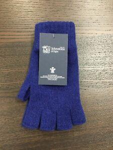 100% Cashmere Fingerless Gloves   Johnstons of Elgin   Made in Scotland   Blue