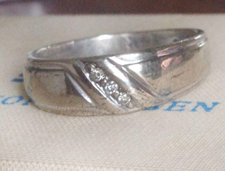 Ring, diamant, Str 64 Herrering