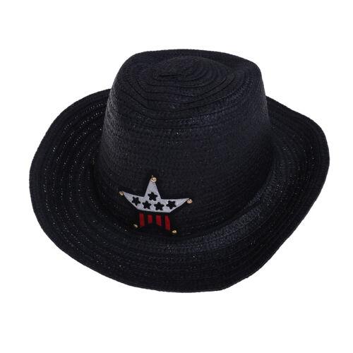 Kids boys girls cowboy summer breathable hat straw sun hat children hats a!HGYJ