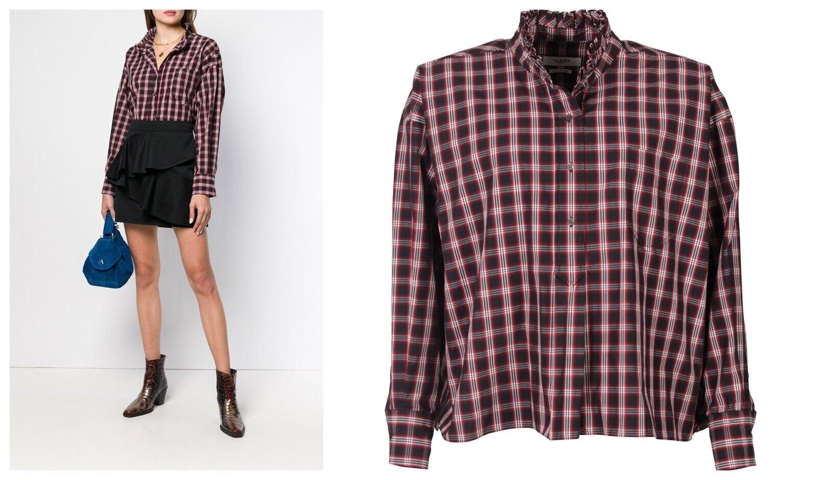ISABEL MARANT Check Ruffle OverGrößed OLENA Shirt Blouse, FR 34
