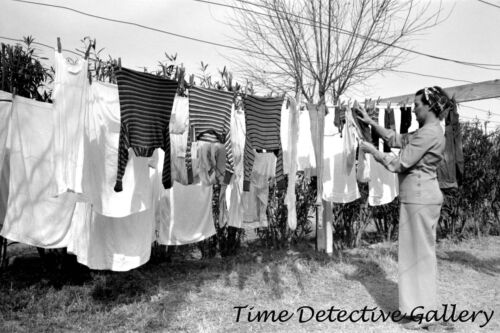 Hanging Out Laundry Historic Photo Print 1942