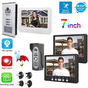 Audio-Intercom-Doorbell-7in-TFT-LCD-Video-Camera-Outdoor-Night-View-Waterproof