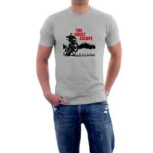 The Great Escape T-shirt Steve McQueen Motorcycle War Movie Fan Tee Sillytees