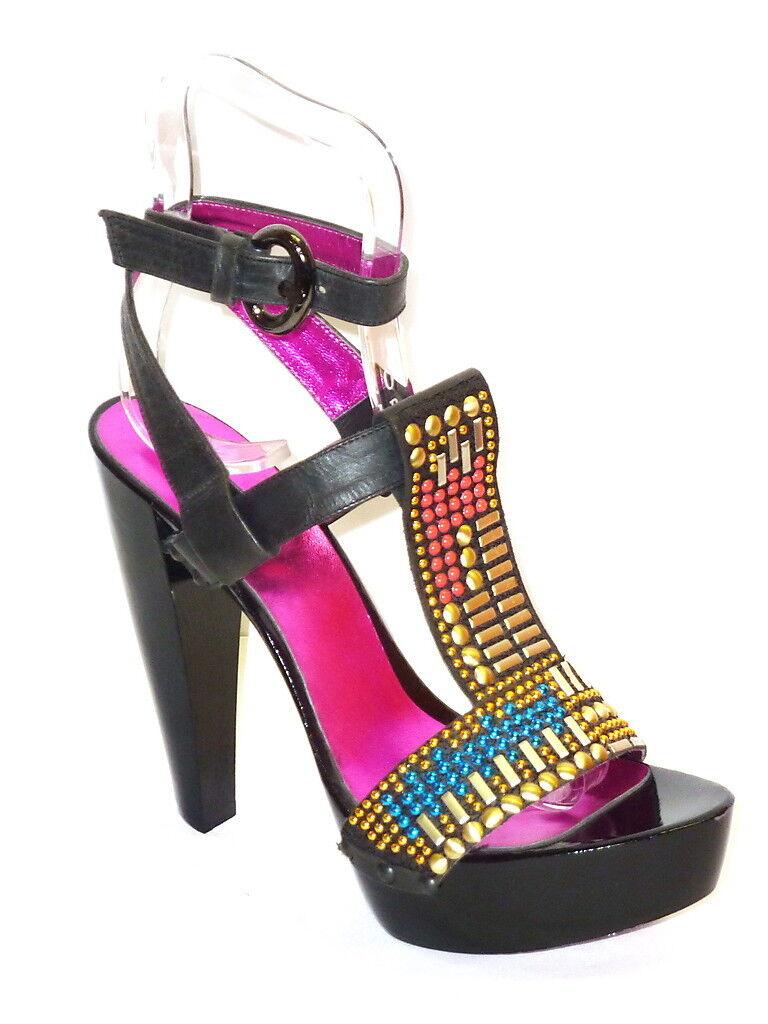 SANDALI mujer PELLE negro TACCO ALTO SEXY VERO LEGNO zapatos PLATEAU ESTIVE 35