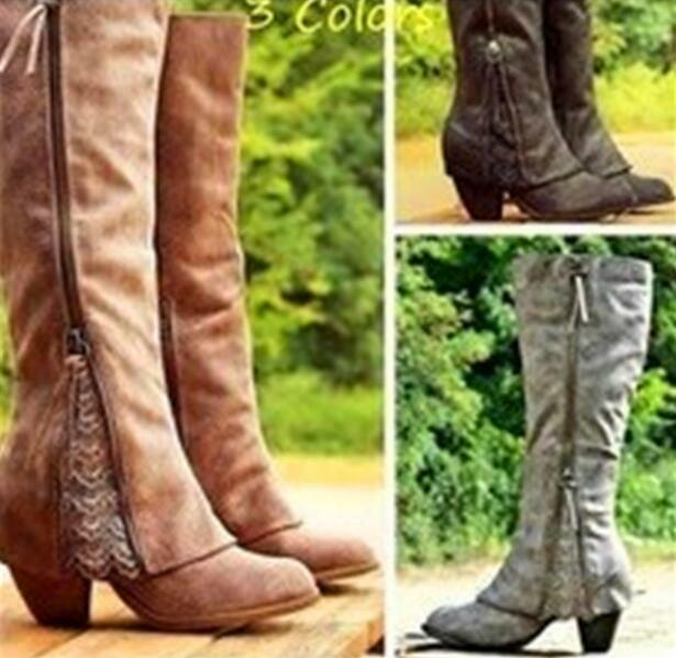 Womens Retro Knee High Boots Lace Faux Leather shoes Large sz 35-43 Hot Sale H7