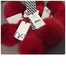 NWT Diane von Furstenberg DVF Red Fur Pom Pom Charm Dragon Fruit