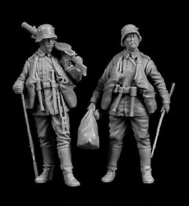 1-35-Resin-Figure-Model-Kit-WWI-Army-Soldier-Tank-Command-2-Figures-Unpainted