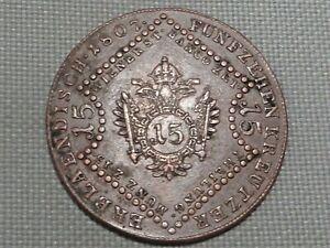 Holy-Roman-Empire-Austria-1807-A-15-Kreuzer-Kaiser-Franz-II-Crowned-Double-Eagle