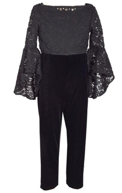 43001f25c684 ... Big Girls Black Lace Flared Long Sleeve Keyhole Jumpsuit 10. About this  product. Bonnie Jean 3 4 Sleeve Foiled Lace Top and Stretch Velvet Jumpsuit  Set