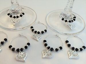 20 Black Crystal Wine Glass Charms. Favours, Parties, Celebrations