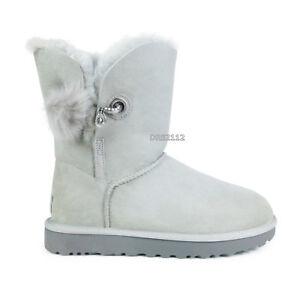 722644395c5 Details about UGG Irina Grey Violet Suede Fur Pom Boots Womens Size 10 *NIB*