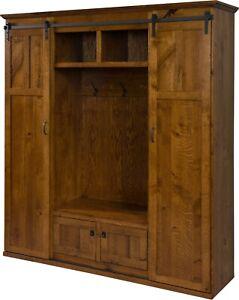 Details About Amish Rustic Wood Hall Tree Storage Bench Barn Door Hallway Entryway Seat Coat
