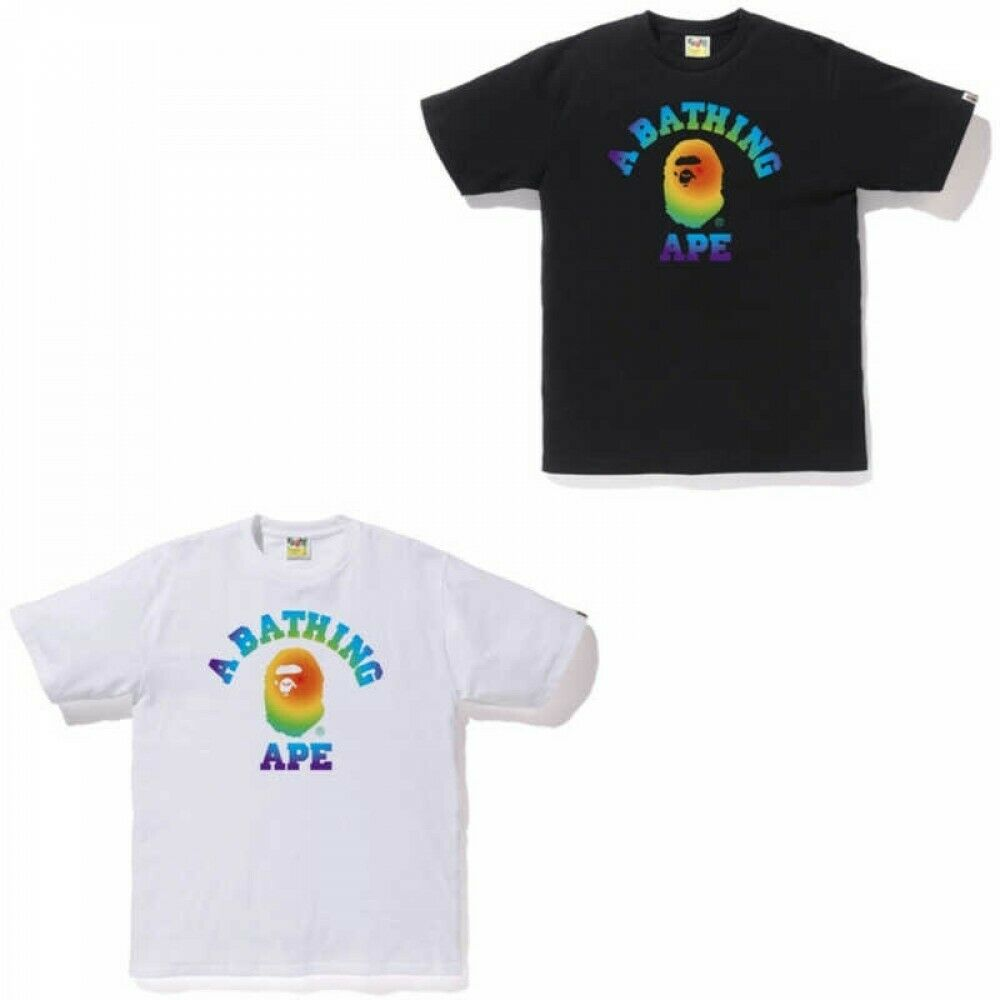 A BATHING APE herren T-shrit RAINBOW COLLEGE TEE 2 Farbes Fast Shipping Japan EMS