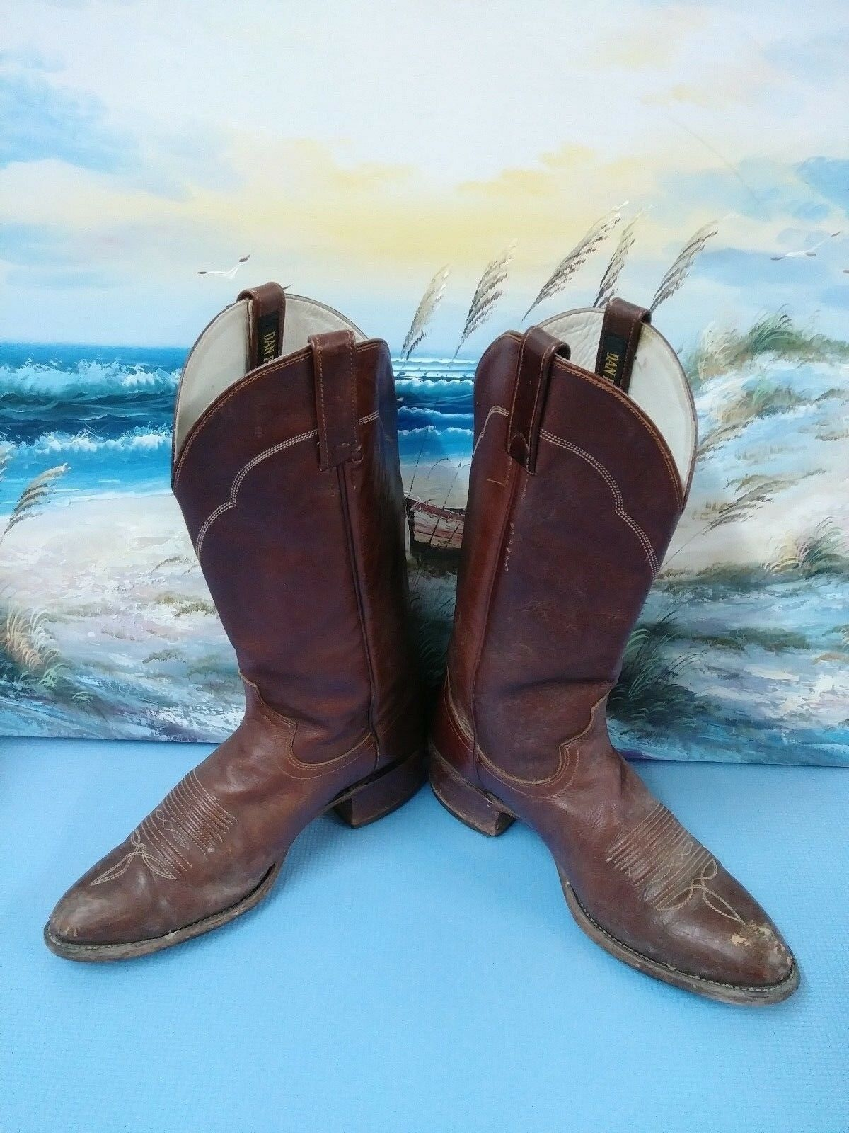DAN POST Damenschuhe BROWN LEATHER COWBOY BOOTS SZ 9.5