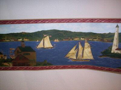 Lighthouse and Sailboats Primitive Wallpaper Border/…