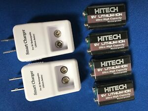 2 of 9v Smart Charger+4 of 9v Li600mAh Hitech USA Rechargeable Li-Poly batteries