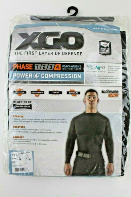 Men's XGO Base Layer Power Skins Compression Long Sleeve Top Shirt Black Size: M
