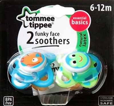 4 DESIGNS TOMMEE TIPPEE ESSENTIALS FUNKY FACE SOOTHERS 6-12mths
