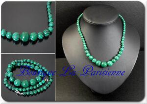 Malachit-Perlenkette-Kette-Halskette-Collier-Strang-L44-cm-Handarbeit-Edelstein