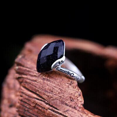 Niedrigerer Preis Mit A03 Ring Sterling Silber 925 Blaufluss Schlicht Und Elegant Größenverstellbar NüTzlich FüR äTherisches Medulla Echtschmuck