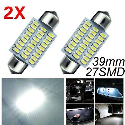 2 Pcs White 31MM 12V LED Festoon Bulbs 3014 27 SMD Car Reading Lamp Dome Light