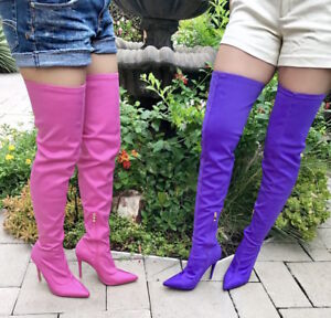 716ee11909bf Over The Knee Thigh High Pointy Toe Lycra Stretchy Elastic High Heel ...