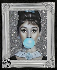 Audrey Hepburn Pink Glitter Canvas Picture Silver Crystals Shabby Chic frame.