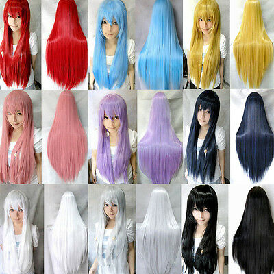 Nice 60cm 80cm 100cm Long Straight Cosplay Fashion Colors Wig Heat Resistant JF1