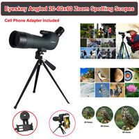 Waterproof Angled Spotting Scopes 20-60x60 Zoom Spotting Scope W/phone Adaptor