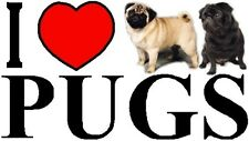I LOVE PUGS Car Sticker By Starprint - Featuring the Pug - Auto combined postage