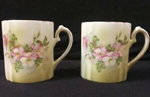 2-Vintage-Porcelain-Nippon-Marked-Chocolate-Cups-Pink-Flowers-Gold-Trim-Oval