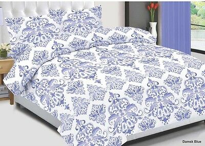 Realistisch Damask Blue Cotton Bedding Set, Quilted Duvet Cover+pillow Case & Fitted Sheet Online Korting