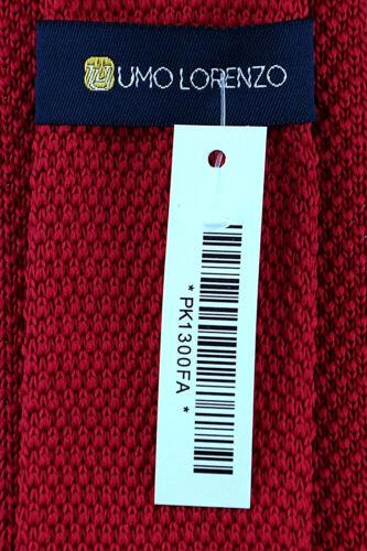 Umo Lorenzo Knit Mens Necktie 2.5 Skinny Fashion Knitted Raspberry Red Neck Tie